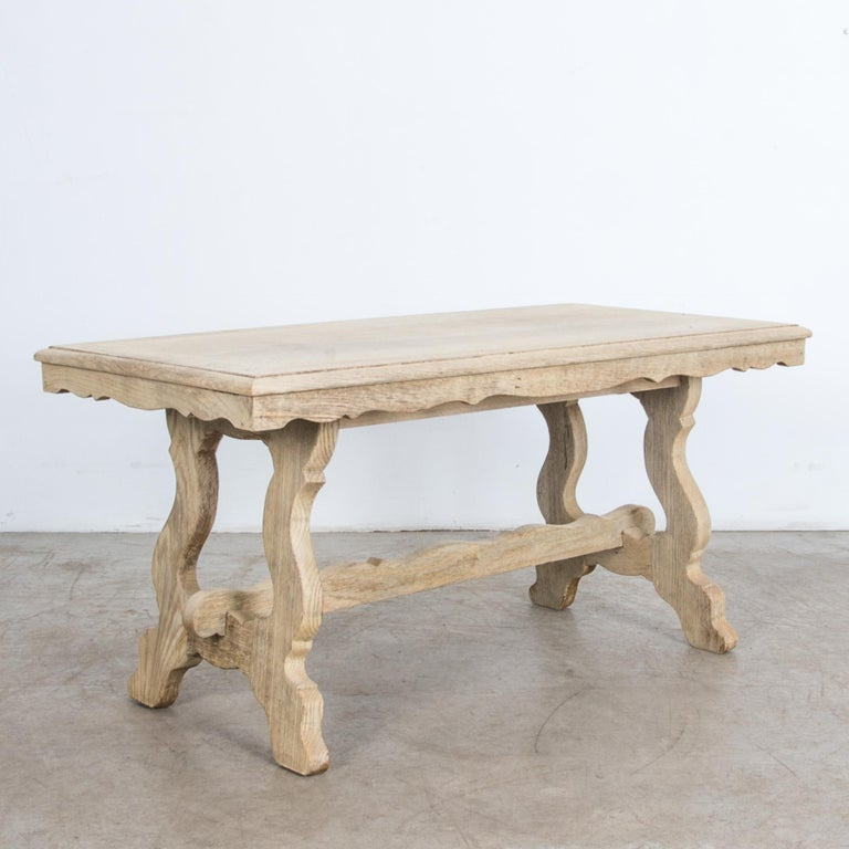 French Provincial 1960s Belgian Bleached Oak Coffee Table For Sale