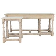 1960s Belgian Bleached Oak Nesting Tables