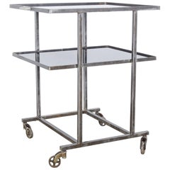 1960s Belgian Glass-Top Metal Belgian Bar Cart on Wheels