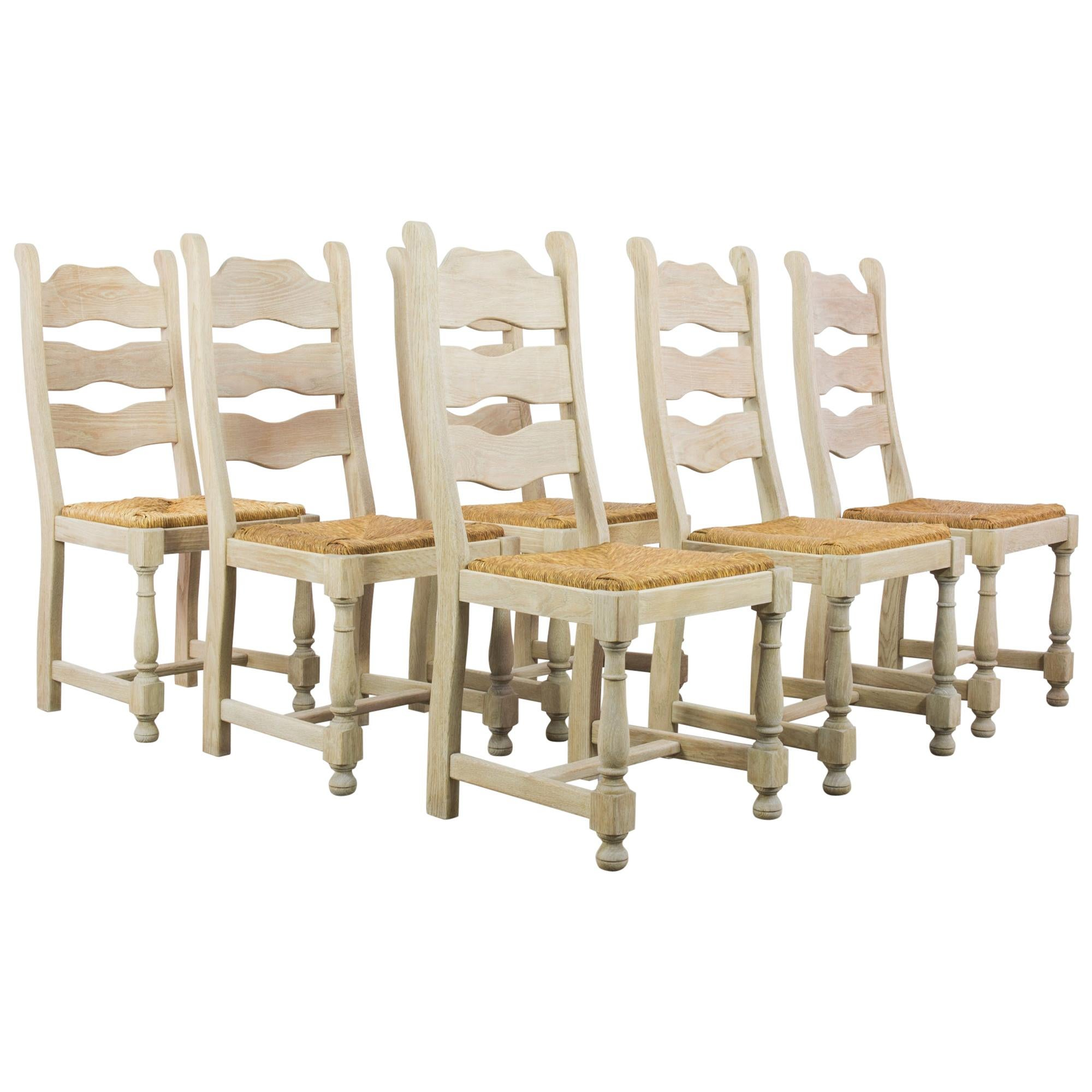 1960s Belgian Oak Dining Chairs with Woven Seats, Set of Six