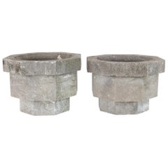 1960s Belgian Stone Planters, a Pair