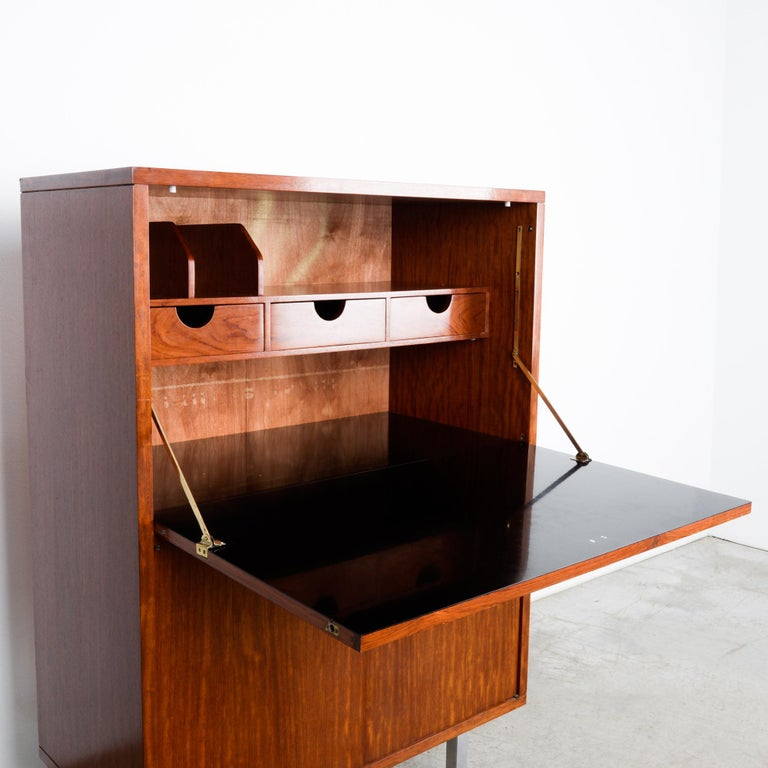 Chrome 1960s Belgian Teak Secretary Cabinet by Alfred Hendrickx For Sale