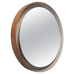 1960s Belgian Wall Mounted Modernist Round Backlit Illuminated Wood Frame Mirror