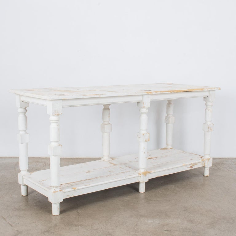 French Provincial 1960s Belgian White Patinated Drapers Table For Sale