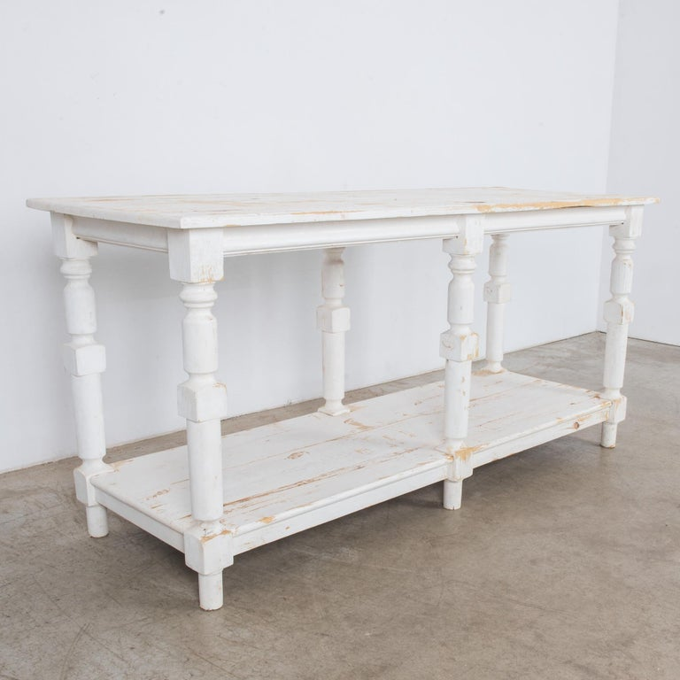 Painted 1960s Belgian White Patinated Drapers Table For Sale