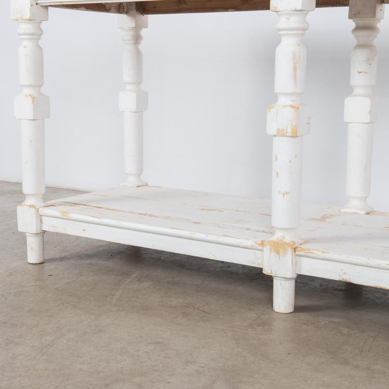 1960s Belgian White Patinated Drapers Table In Good Condition For Sale In High Point, NC
