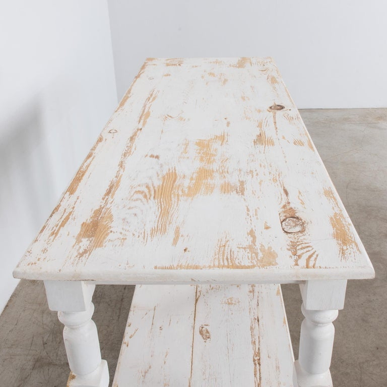 Early 20th Century 1960s Belgian White Patinated Drapers Table For Sale