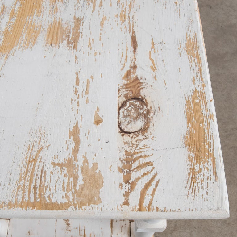 Wood 1960s Belgian White Patinated Drapers Table For Sale