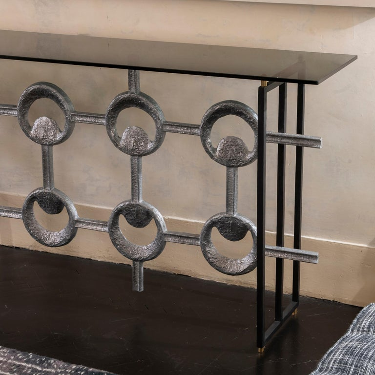 1960s Belgium Aluminum Frieze Console, Black Steel Structure Grey Glass Top In Good Condition For Sale In Firenze, IT