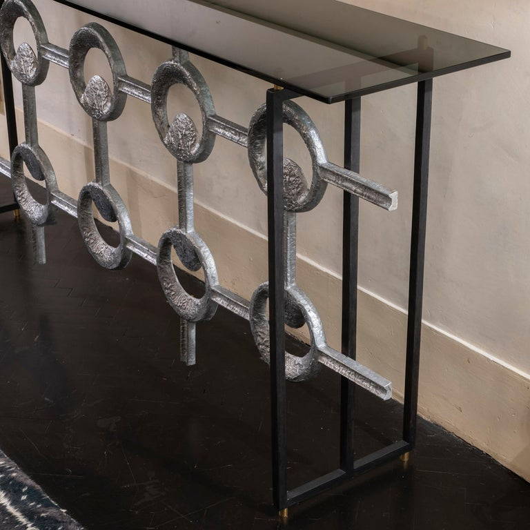 Mid-20th Century 1960s Belgium Aluminum Frieze Console, Black Steel Structure Grey Glass Top For Sale