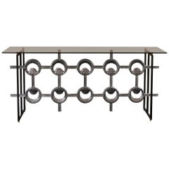 1960s Belgium Aluminum Frieze Console, Black Steel Structure Grey Glass Top