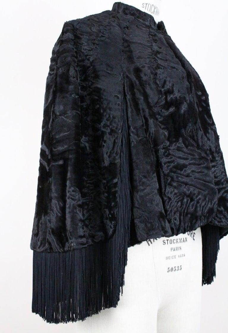 1960s Bepe Cr 233 Ation De Paris Black Fringed Persian Lamb