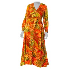 1960S BERGDORF GOODMAN Orange Tropical Cotton Sateen Maxi Dress With Pockets