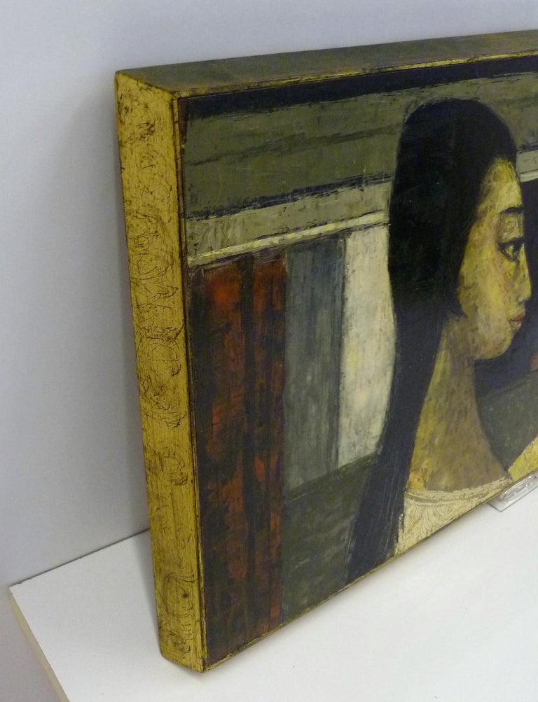1960s Bert Pumphrey Framed Oil on Board Dos Damas, Mexico Framed Painting For Sale 3