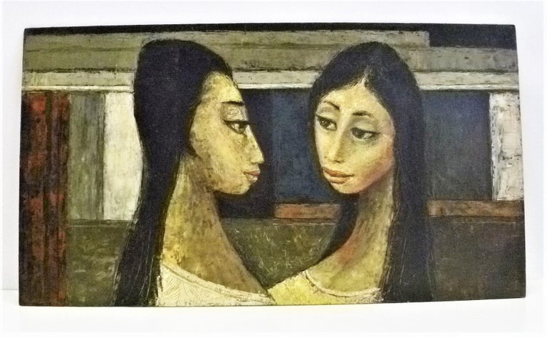 Vintage midcentury framed oil painting by Bert Pumphrey (1916-2000) of two women, Dos Damas. An oil on board (masonite), it is in his distinctive style of two long necked exotic Mexican women, a country he moved to either in the late 40s or early