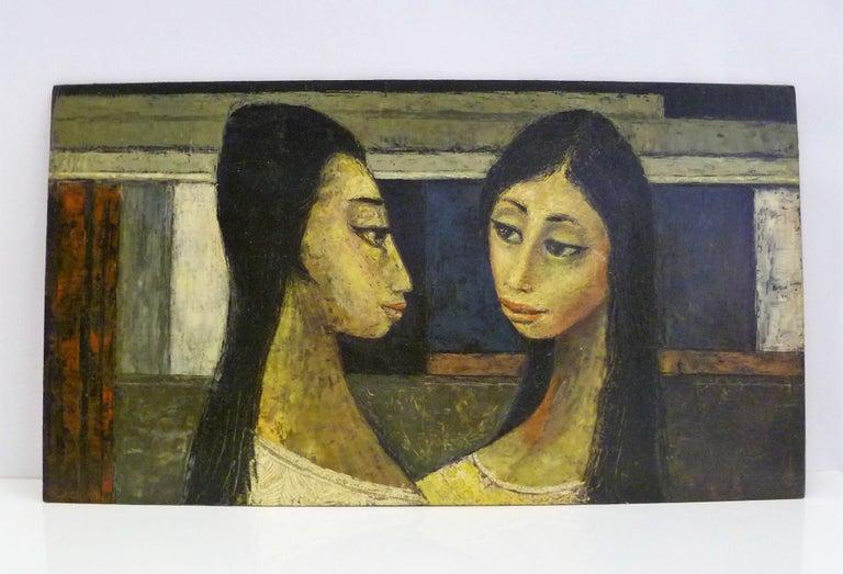 Mid-Century Modern 1960s Bert Pumphrey Framed Oil on Board Dos Damas, Mexico Framed Painting For Sale