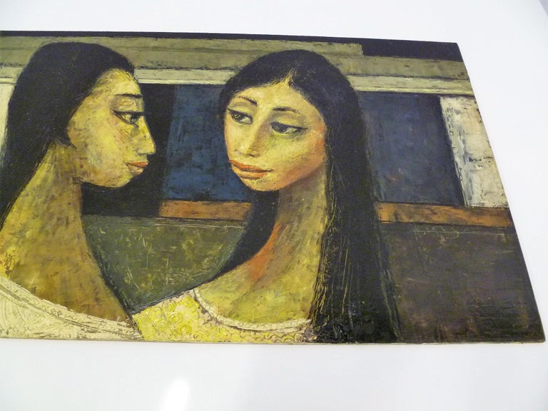 Mexican 1960s Bert Pumphrey Framed Oil on Board Dos Damas, Mexico Framed Painting For Sale
