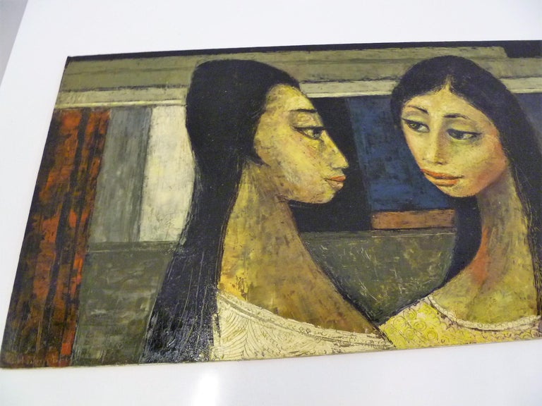 1960s Bert Pumphrey Framed Oil on Board Dos Damas, Mexico Framed Painting In Good Condition For Sale In Miami, FL