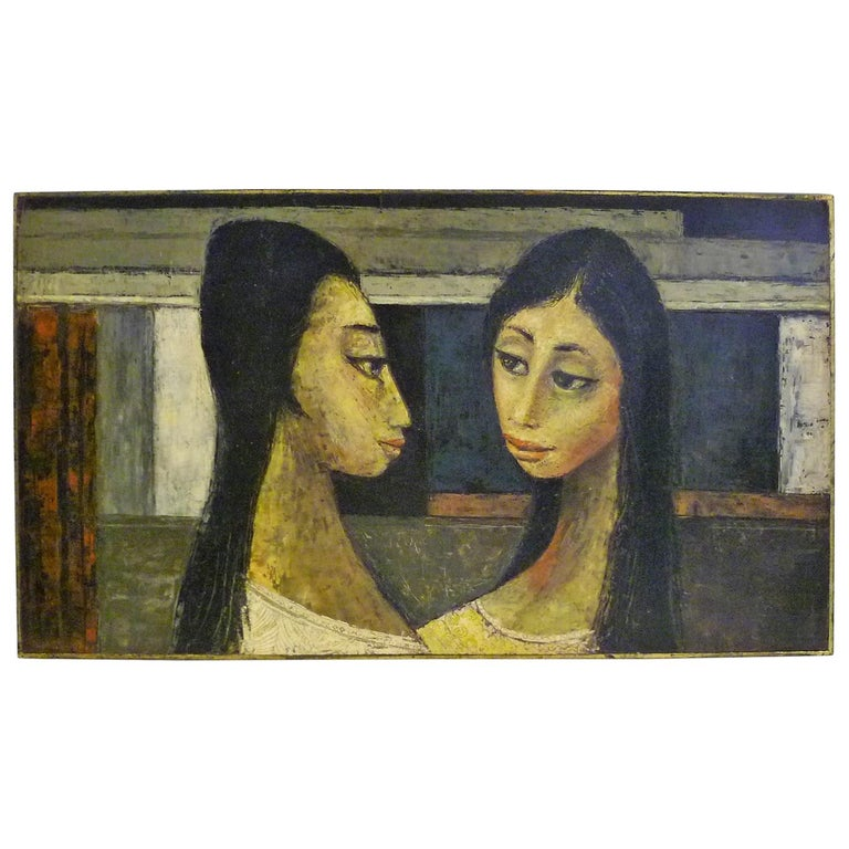 1960s Bert Pumphrey Framed Oil on Board Dos Damas, Mexico Framed Painting For Sale