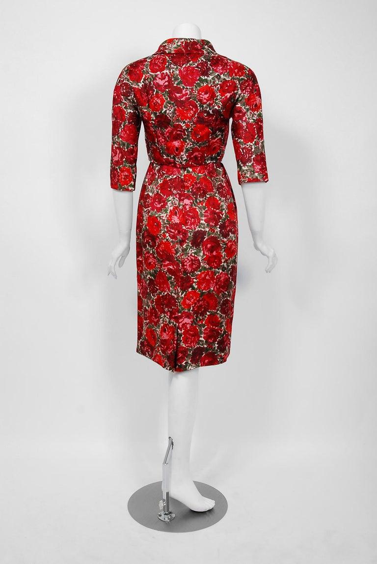 1960's Betty Draper of Mad Men Film-Worn Bonwit Teller Red Roses Silk Dress Set For Sale 6