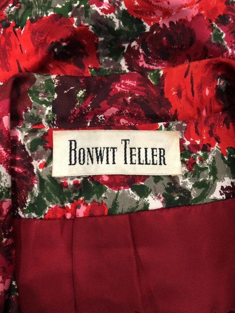 1960's Betty Draper of Mad Men Film-Worn Bonwit Teller Red Roses Silk Dress Set For Sale 8