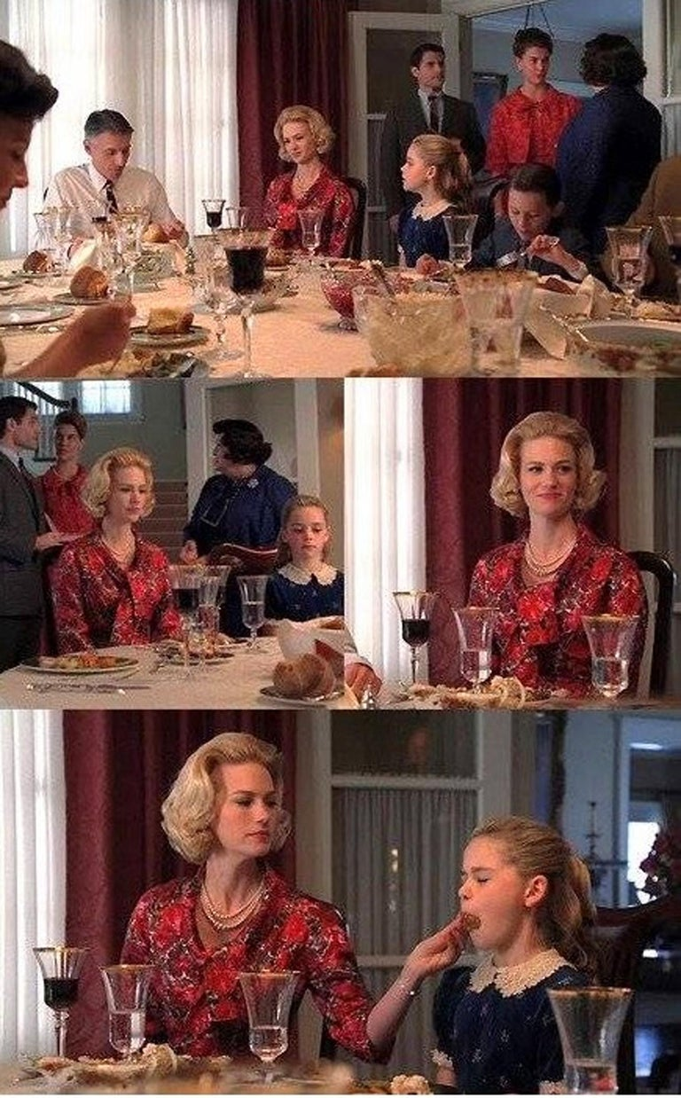 A gorgeous and highly desirably 1960's cocktail dress set worn by January Jones as Betty Draper during the second season of AMC's Mad Men. There is very little memorabilia from Mad Men available and this documented ensemble is the epitome of their