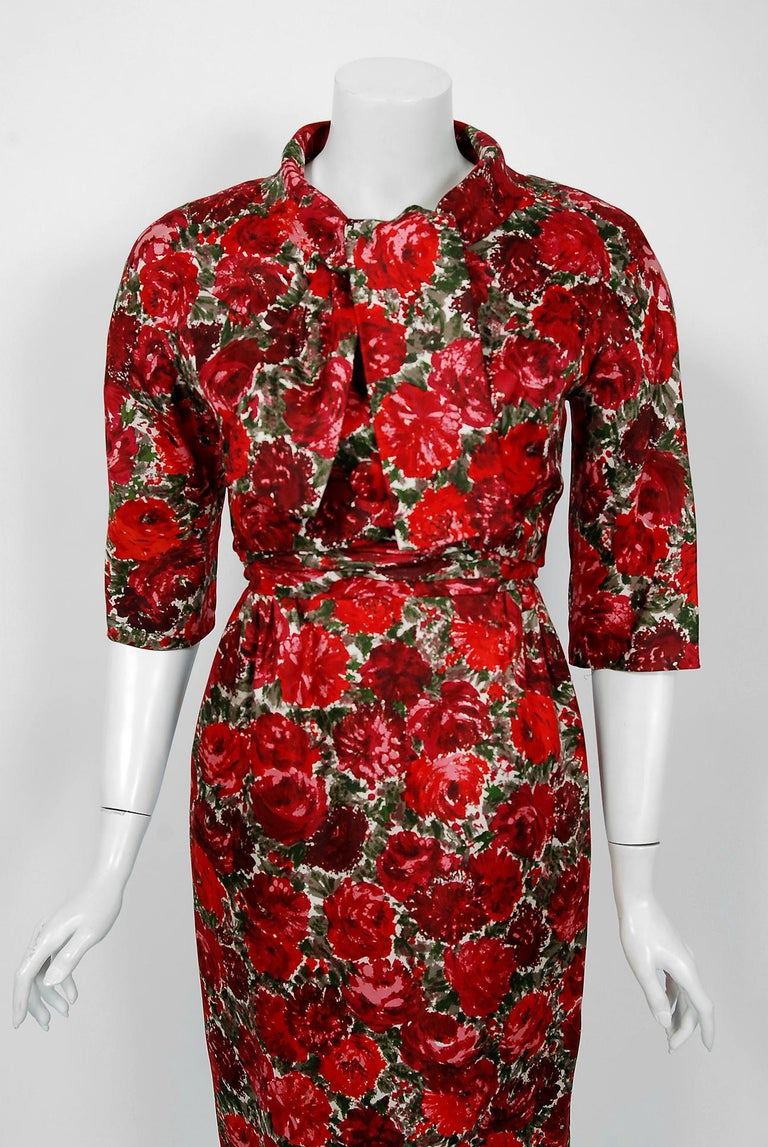 1960's Betty Draper of Mad Men Film-Worn Bonwit Teller Red Roses Silk Dress Set In Good Condition For Sale In Beverly Hills, CA