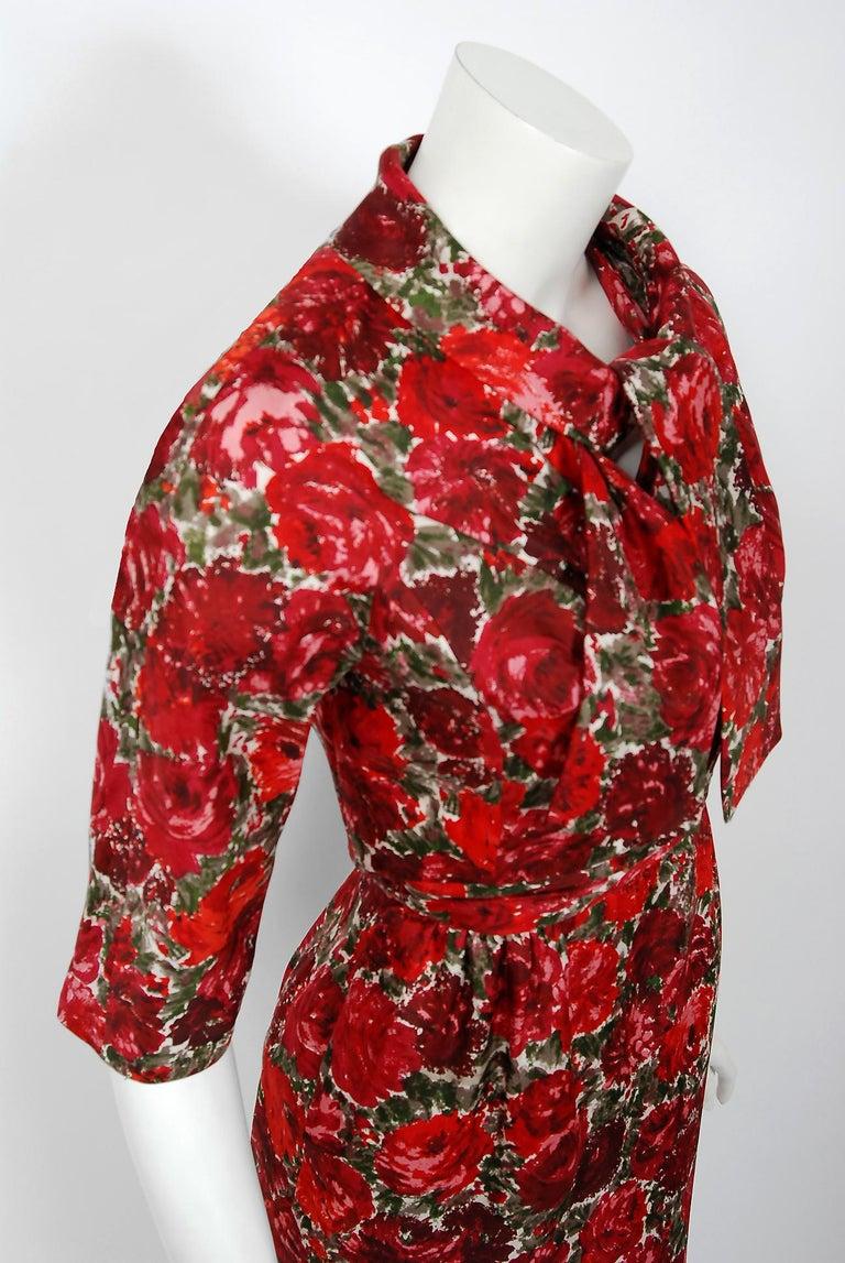 Women's 1960's Betty Draper of Mad Men Film-Worn Bonwit Teller Red Roses Silk Dress Set For Sale