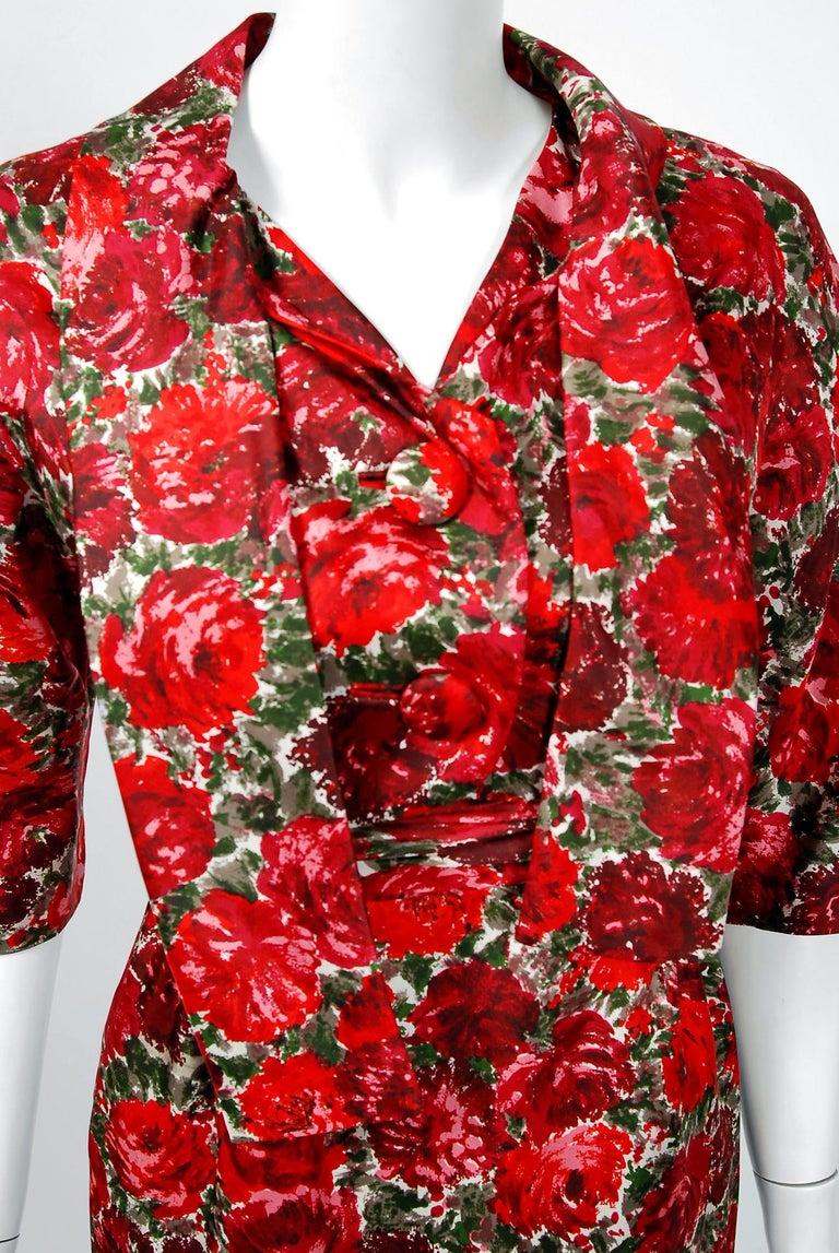 1960's Betty Draper of Mad Men Film-Worn Bonwit Teller Red Roses Silk Dress Set For Sale 1