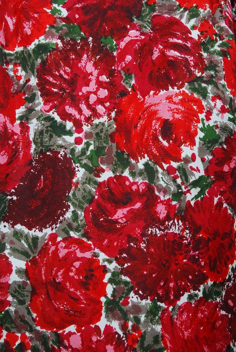 1960's Betty Draper of Mad Men Film-Worn Bonwit Teller Red Roses Silk Dress Set For Sale 2