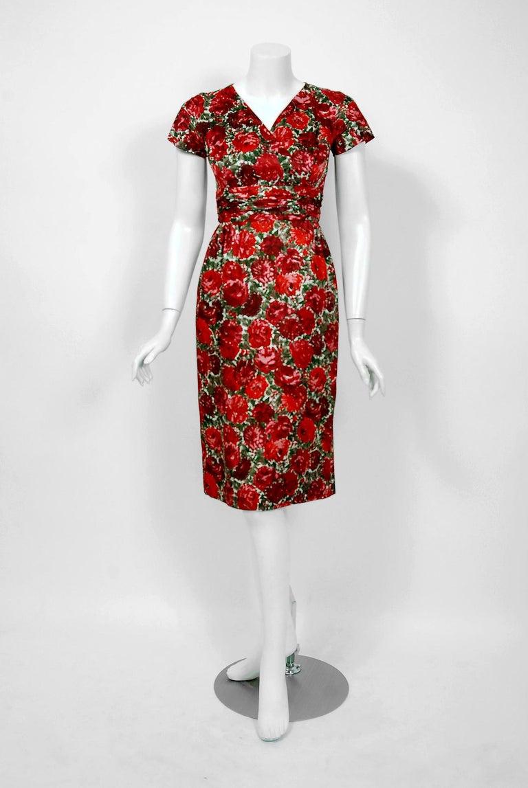 1960's Betty Draper of Mad Men Film-Worn Bonwit Teller Red Roses Silk Dress Set For Sale 3