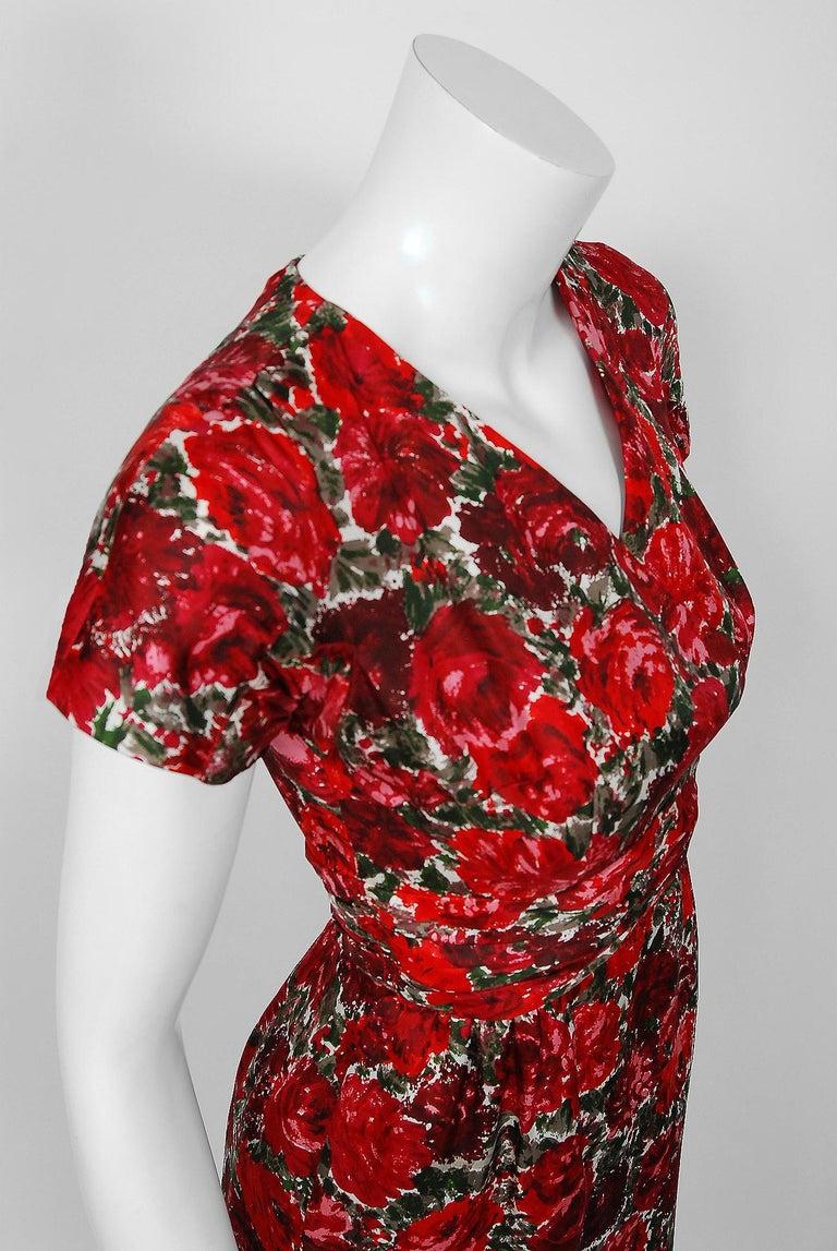 1960's Betty Draper of Mad Men Film-Worn Bonwit Teller Red Roses Silk Dress Set For Sale 4