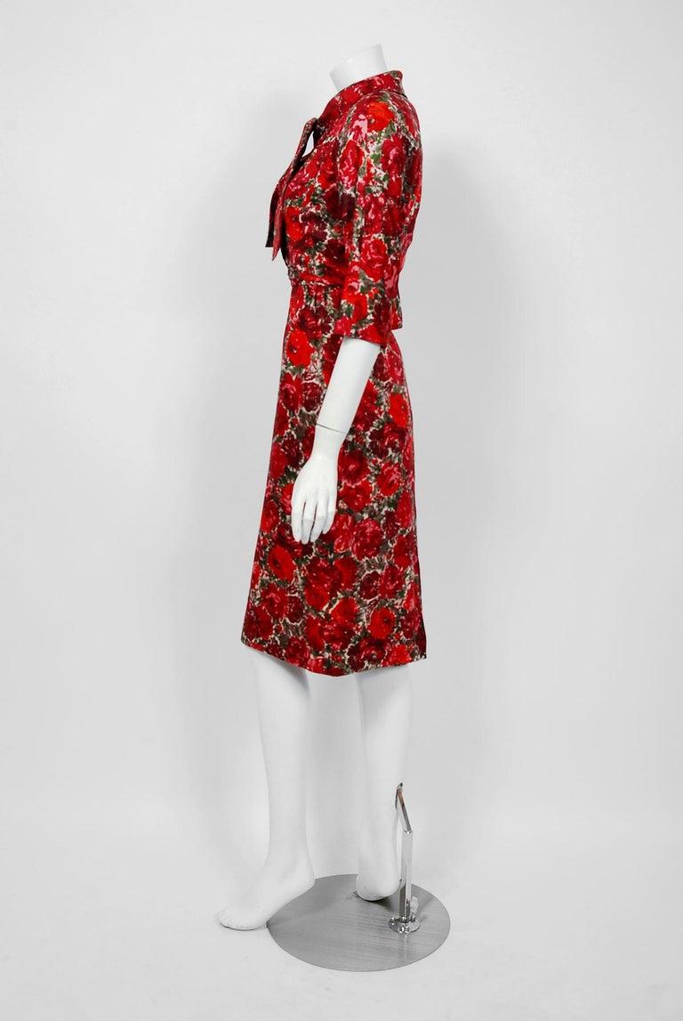 1960's Betty Draper of Mad Men Film-Worn Bonwit Teller Red Roses Silk Dress Set For Sale 5
