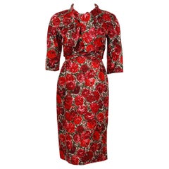 1960's Betty Draper of Mad Men Film-Worn Bonwit Teller Red Roses Silk Dress Set