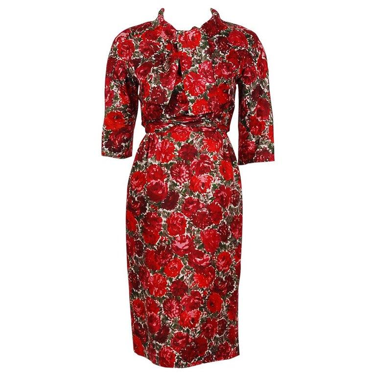 1960's Betty Draper of Mad Men Film-Worn Bonwit Teller Red Roses Silk Dress Set For Sale