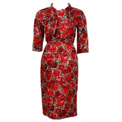 1960's Betty Draper of Mad Men Film-Worn Bonwit Teller Red Roses Silk Dress Set
