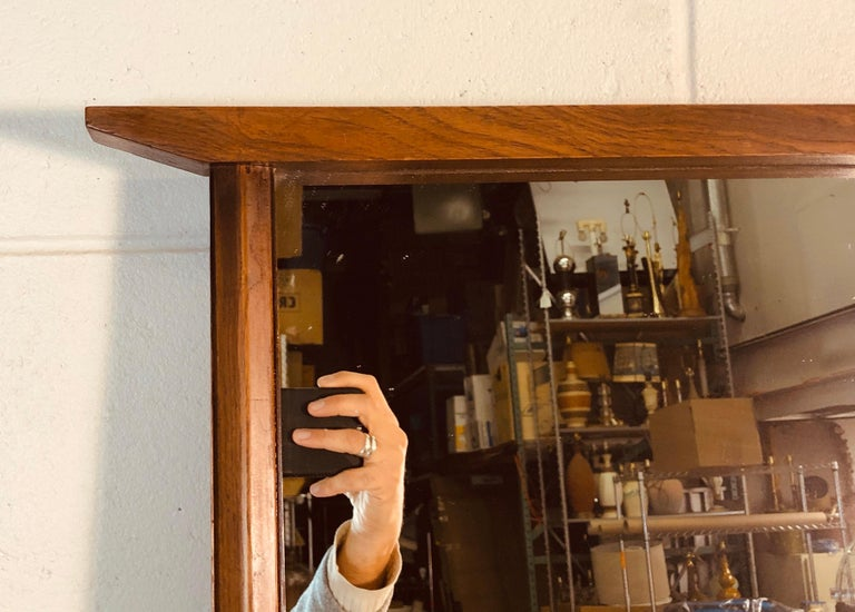 American 1960s Beveled Wood Wall Mirror For Sale