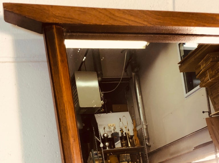 1960s Beveled Wood Wall Mirror In Good Condition For Sale In Amherst, NH