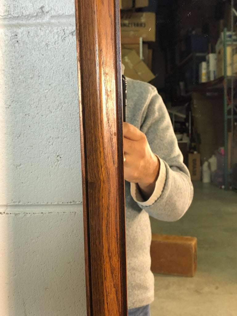 20th Century 1960s Beveled Wood Wall Mirror For Sale