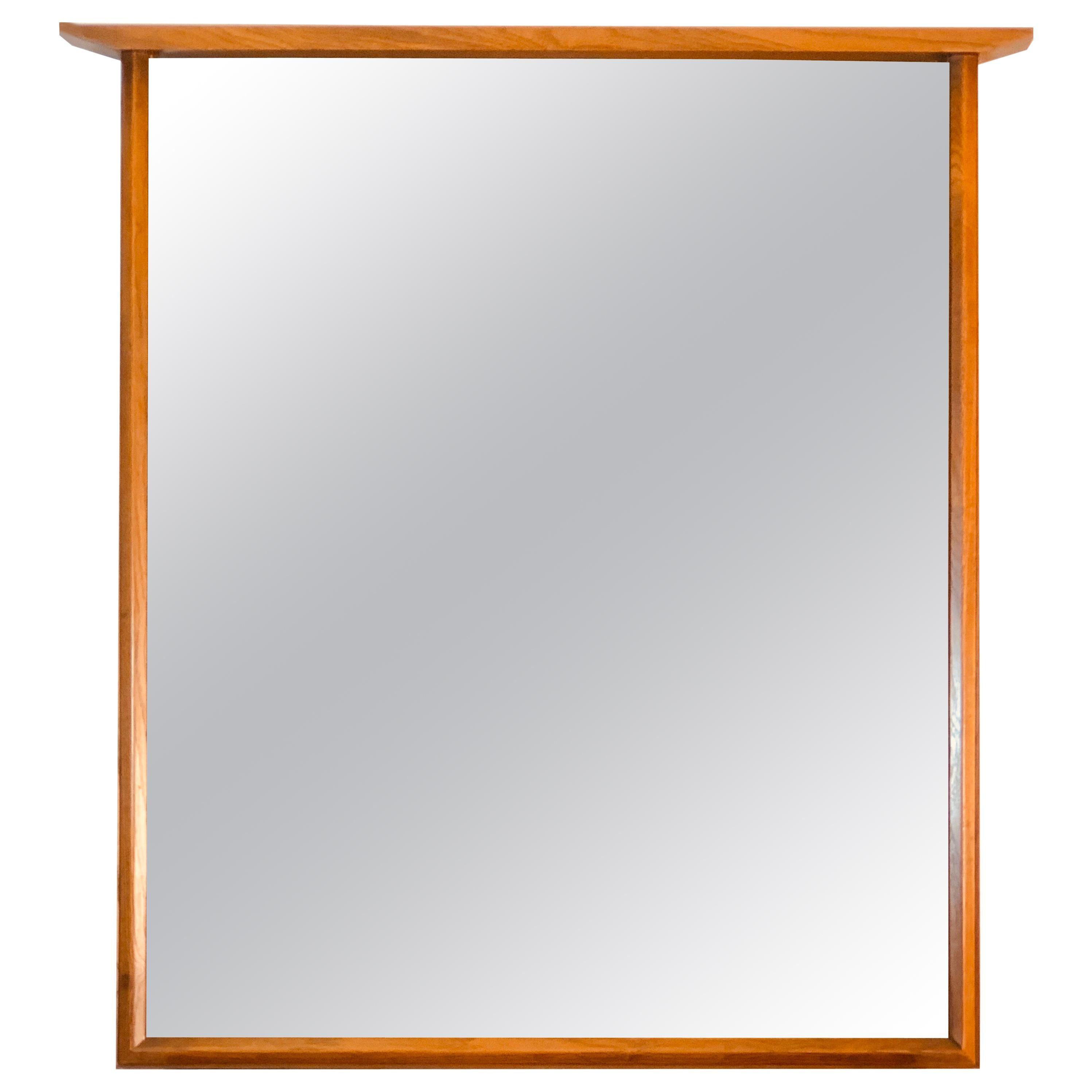 1960s Beveled Wood Wall Mirror