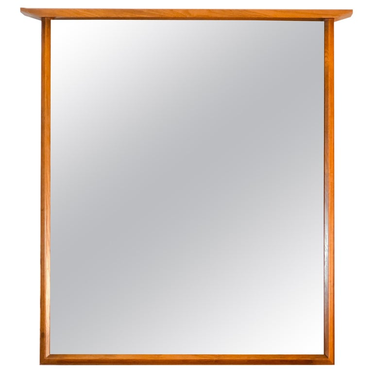 1960s Beveled Wood Wall Mirror For Sale