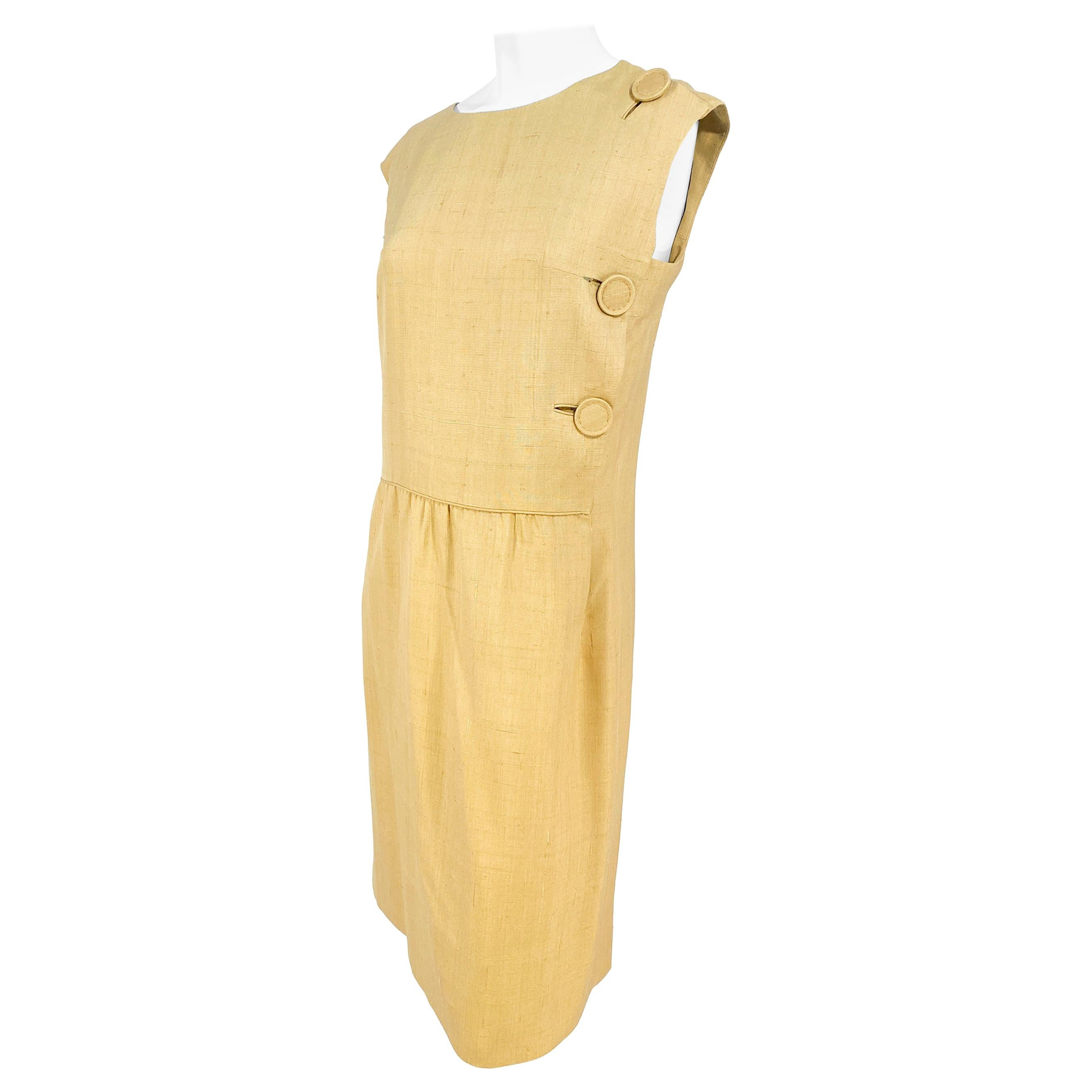 1960s B.H. Wragge Mustard Raw Silk Dress with Button Accents