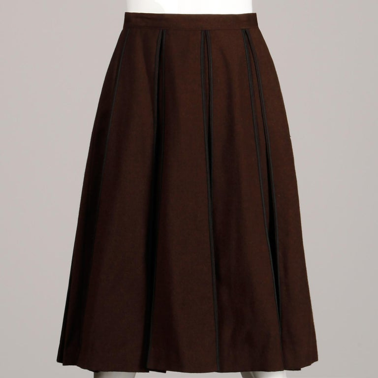 Women's 1960s B.H. Wragge Vintage Brown Wool Skirt with Box Pleats + Black Cord Trim For Sale