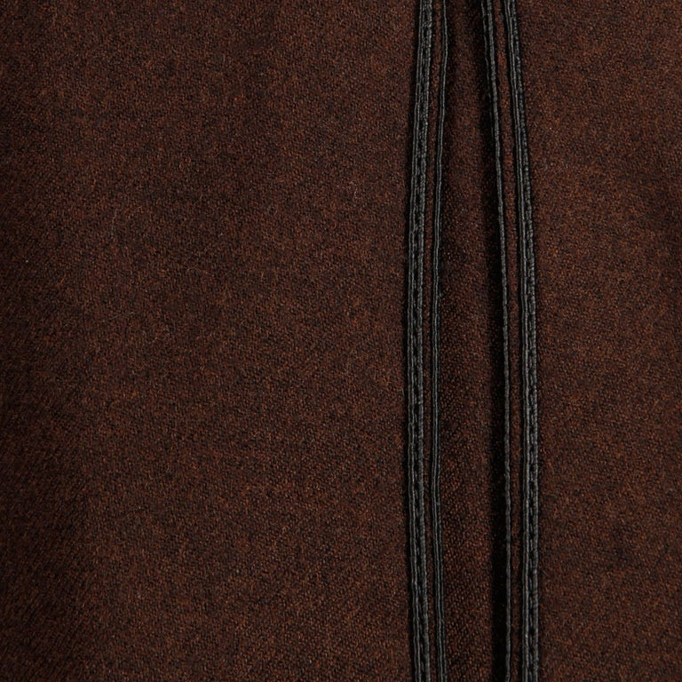 1960s B.H. Wragge Vintage Brown Wool Skirt with Box Pleats + Black Cord Trim For Sale 1