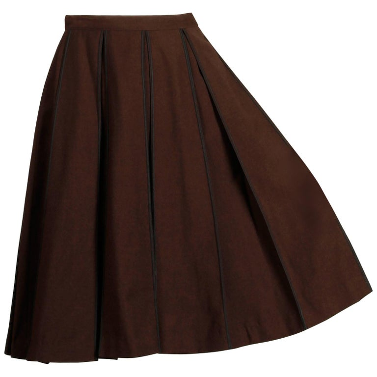 1960s B.H. Wragge Vintage Brown Wool Skirt with Box Pleats + Black Cord Trim For Sale