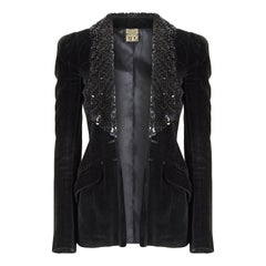 1960s Biba Early Woven Label Black Velvet and Sequin Lapel Jacket