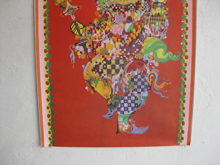 Danish 1960s Bijorn Wiinblad The Magic Flute Papagenda Whimsical Silkscreened Poster For Sale