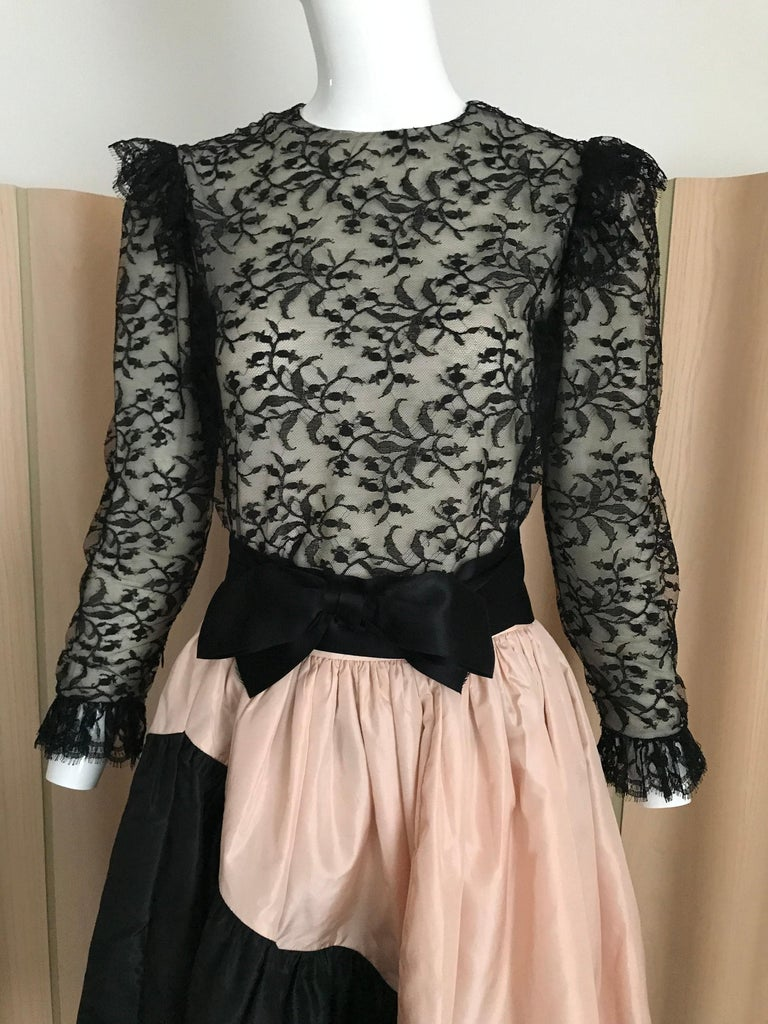 1960s Bill Blass Black Lace Silk Blouse with Silk Taffeta Circle Skirt In Good Condition For Sale In Beverly Hills, CA