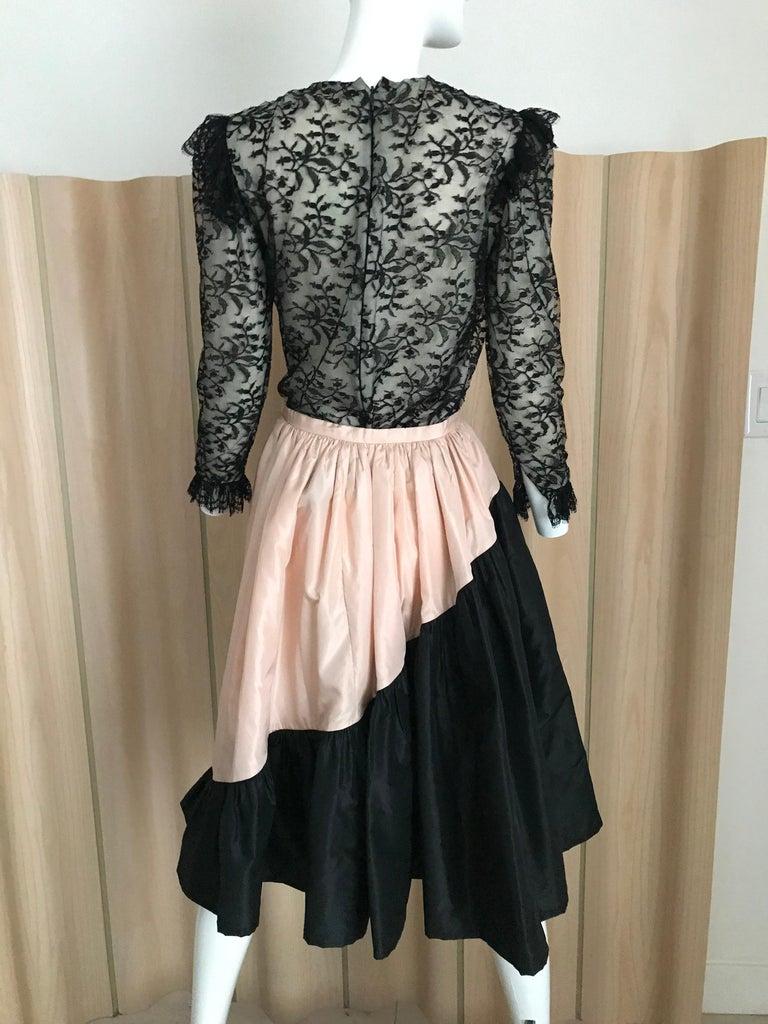 Women's 1960s Bill Blass Black Lace Silk Blouse with Silk Taffeta Circle Skirt For Sale