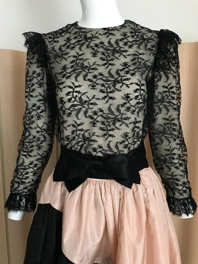 1960s Bill Blass Black Lace Silk Blouse with Silk Taffeta Circle Skirt For Sale 1